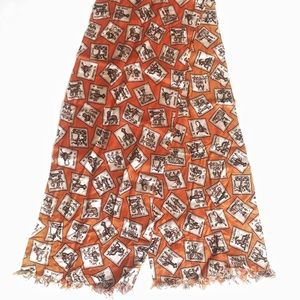 Vintage Zodiac Orange Silky Scarf